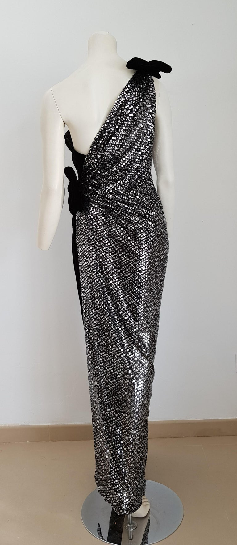 VALENTINO Haute Couture, sequins, one shoulder strap, velvet black gown dress - Unworn, New.  SIZE: equivalent to about Small / Medium, please review approx measurements as follows in cm: lenght 149, chest underarm to underarm 49, bust circumference