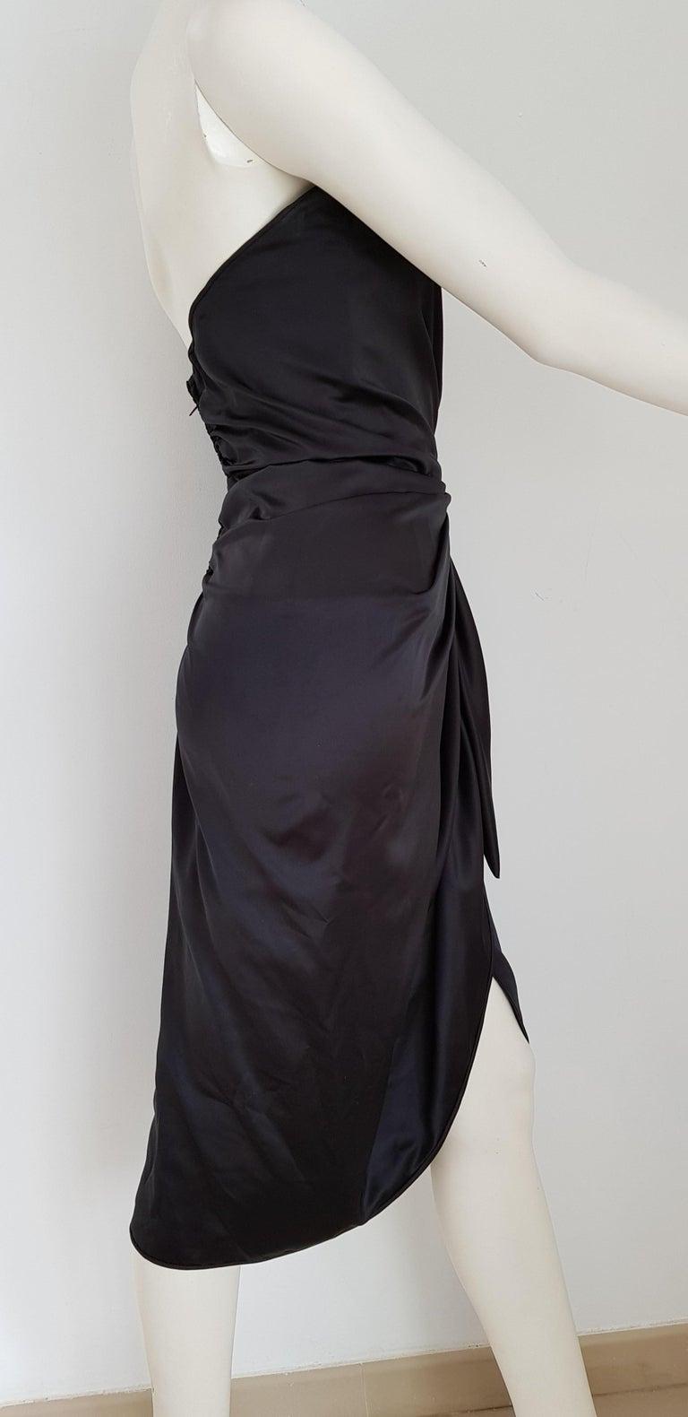 Black VALENTINO Haute Couture Swarovski Diamonds Drop in Front, Silk Gown- Unworn, New For Sale