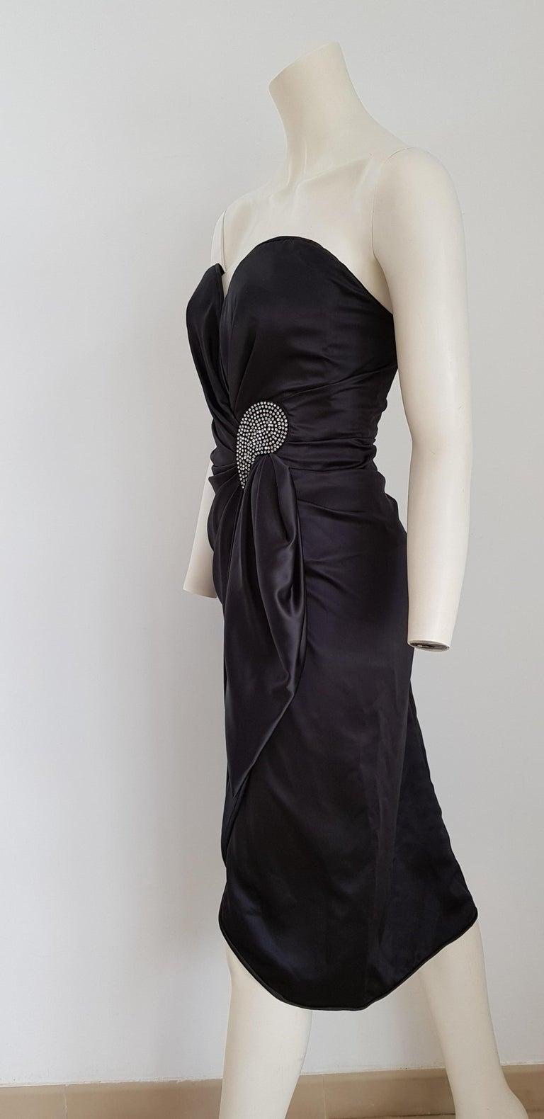 VALENTINO Haute Couture Swarovski Diamonds Drop in Front, Silk Gown- Unworn, New For Sale 1