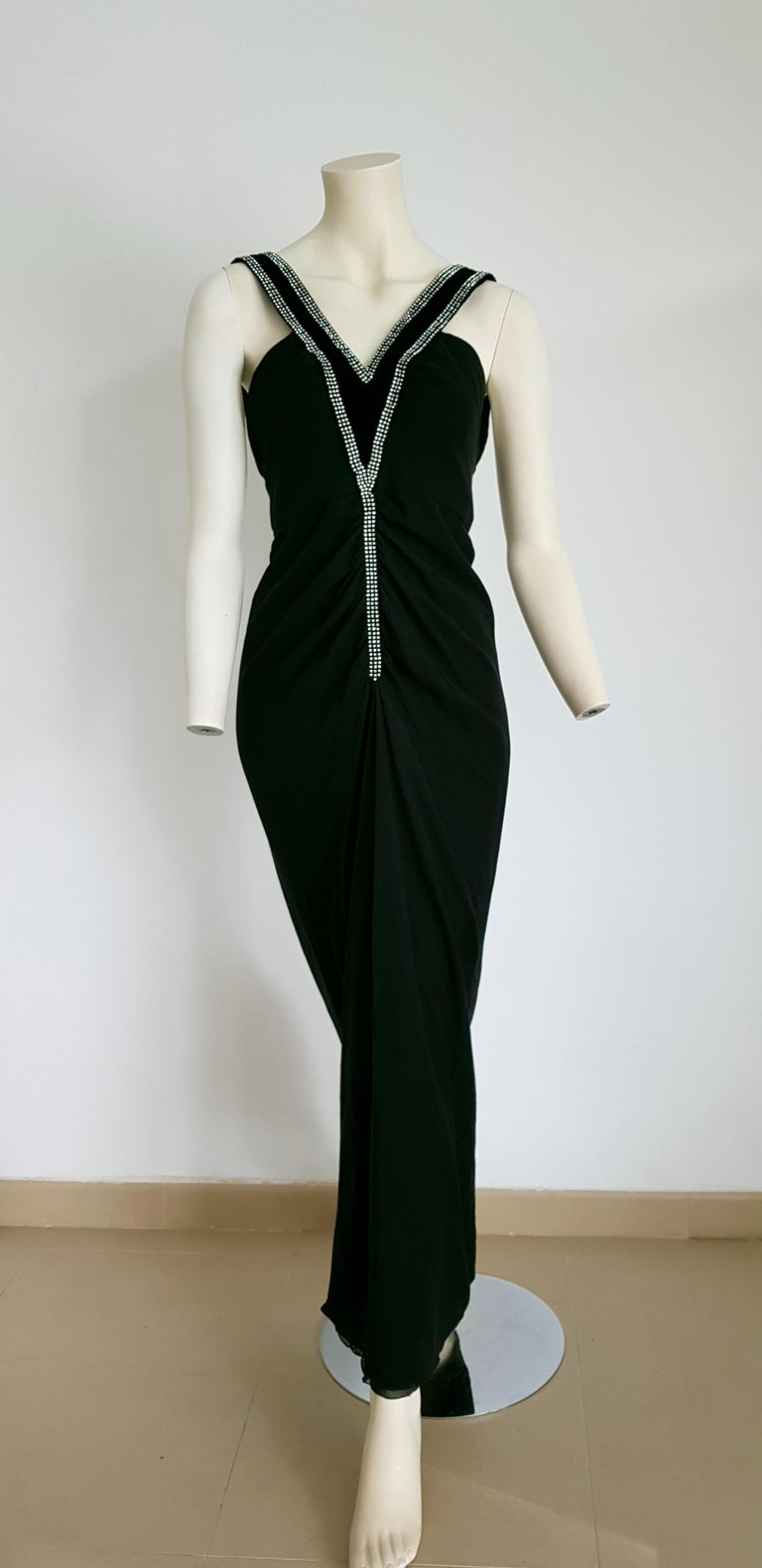 VALENTINO Haute Couture swarovski diamonds on black velvet straps with V shape, silk gown - Unworn, new  SIZE: equivalent to about Small / Medium, please review approx measurements as follows in cm: lenght 145, chest underarm to underarm 48, bust