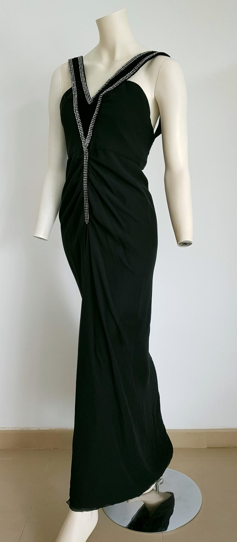 Black VALENTINO Haute Couture swarovski diamonds on black hems silk gown - Unworn, new For Sale