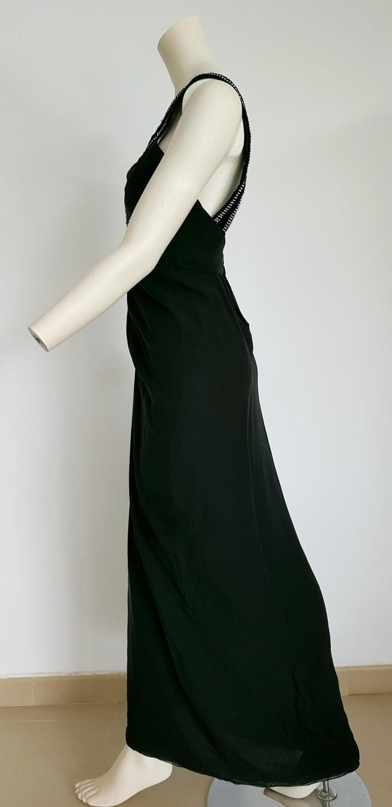 VALENTINO Haute Couture swarovski diamonds on black hems silk gown - Unworn, new In New Condition For Sale In Somo (Santander), ES
