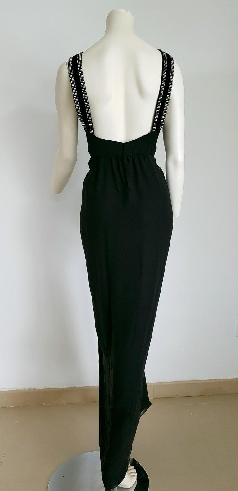 Women's VALENTINO Haute Couture swarovski diamonds on black hems silk gown - Unworn, new For Sale