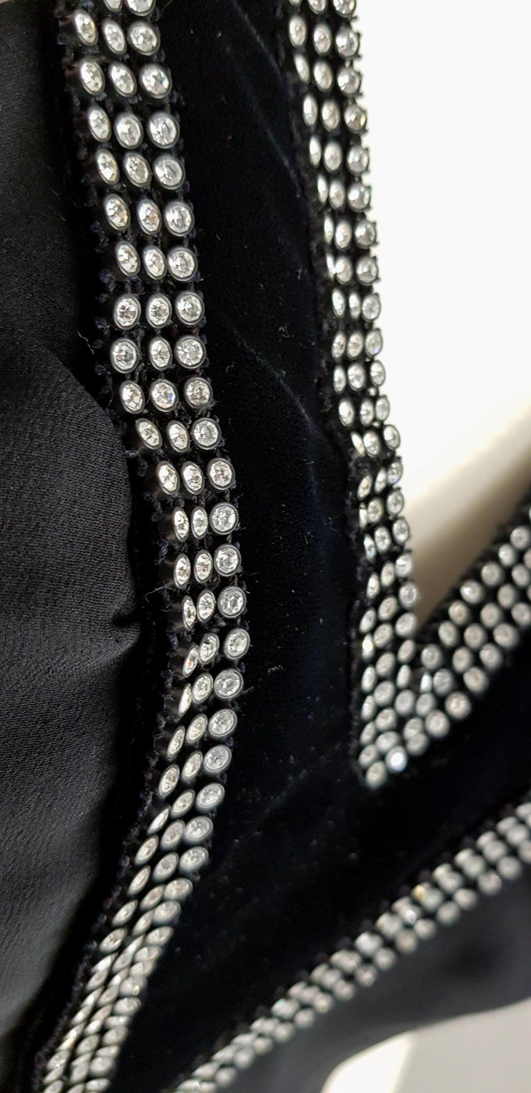 VALENTINO Haute Couture swarovski diamonds on black hems silk gown - Unworn, new For Sale 2