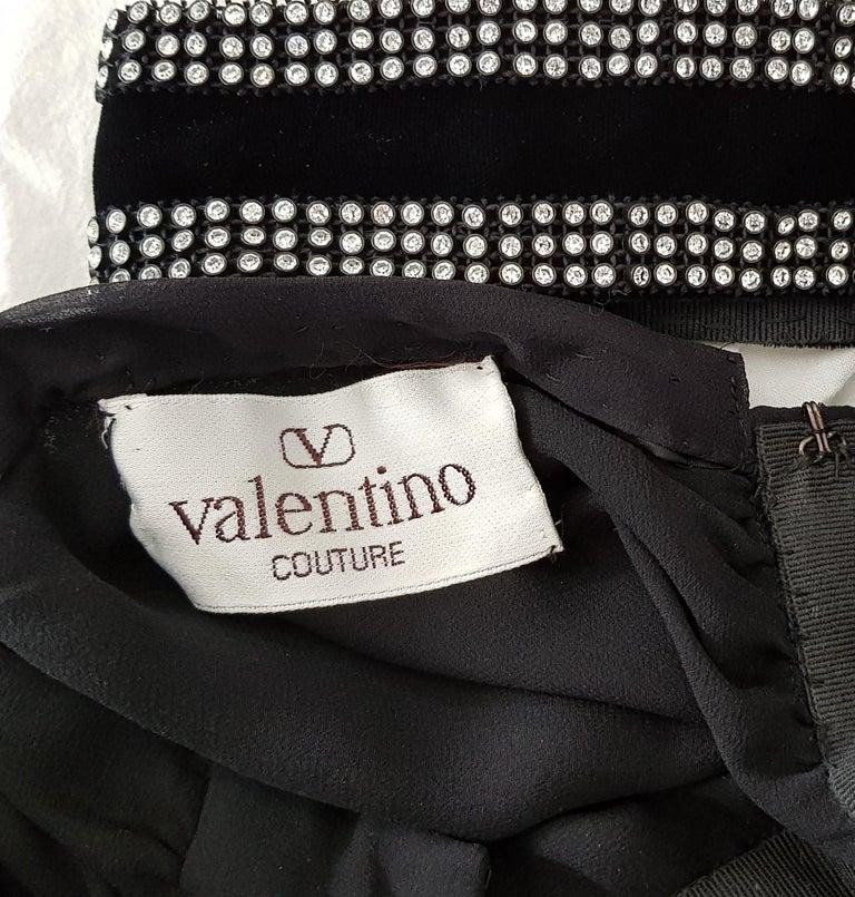 VALENTINO Haute Couture swarovski diamonds on black hems silk gown - Unworn, new For Sale 4