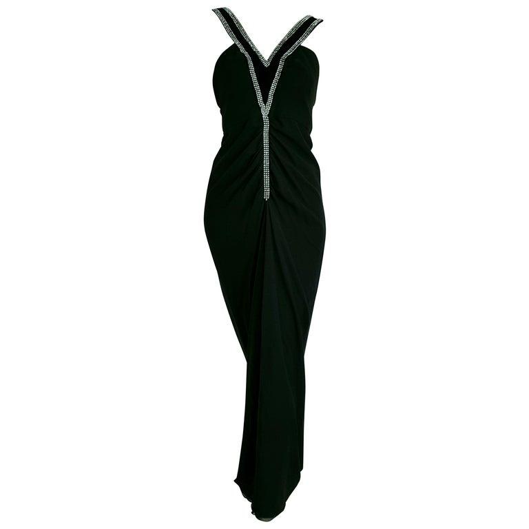 VALENTINO Haute Couture swarovski diamonds on black hems silk gown - Unworn, new For Sale