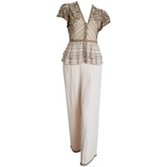 VALENTINO Haute Couture top pants embroidered beaded silk dress - Unworn, New.