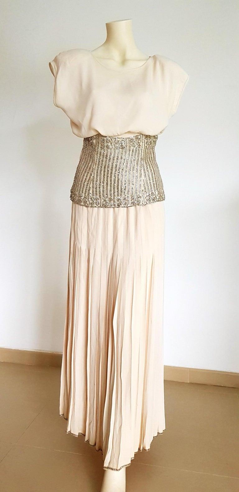White VALENTINO Haute Couture Top Skirt Swarovski Diamonds Waistband Silk Dress-Unworn For Sale