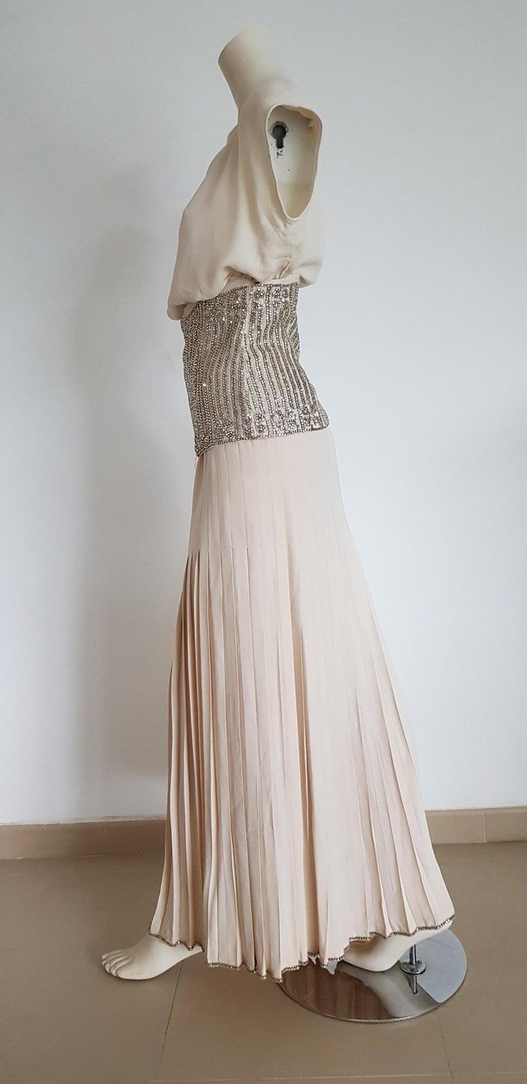 VALENTINO Haute Couture Top Skirt Swarovski Diamonds Waistband Silk Dress-Unworn In Excellent Condition For Sale In Somo (Santander), ES