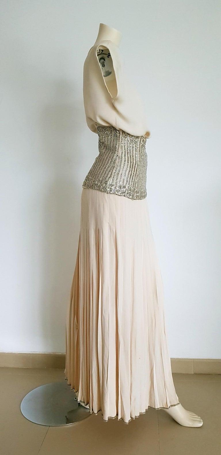Women's VALENTINO Haute Couture Top Skirt Swarovski Diamonds Waistband Silk Dress-Unworn For Sale