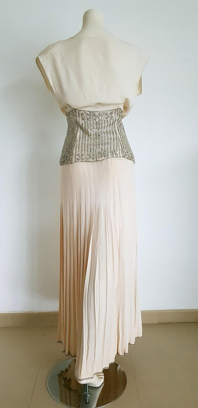 VALENTINO Haute Couture Top Skirt Swarovski Diamonds Waistband Silk Dress-Unworn For Sale 1