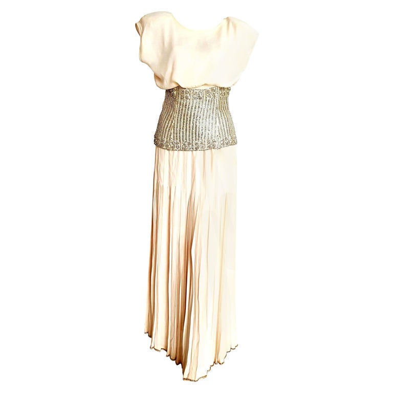 VALENTINO Haute Couture Top Skirt Swarovski Diamonds Waistband Silk Dress-Unworn For Sale