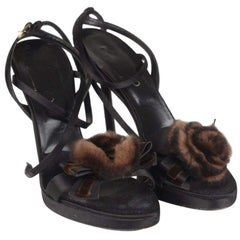 Valentino Heeled Sandals Shoes with Fur Rose Size 39
