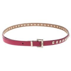 Valentino Hot Pink Leather Rockstud Skinny Belt 85cm