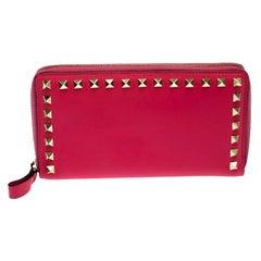Valentino Hot Pink Leather Rockstud Zip Around Wallet