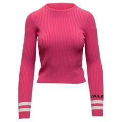 Valentino Hot Pink & Multicolor Rib Knit Sweater