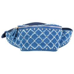 VALENTINO indigo blue DENIM ROCKSTUD Belt Bag Hip Pack