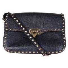 VALENTINO indigo blue leather ROCKSTUD Crossboy Shoulder Bag