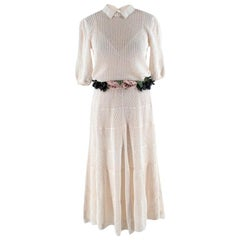 Valentino Ivory Crochet Knitted Dress with Flower Knit Belt - Size S