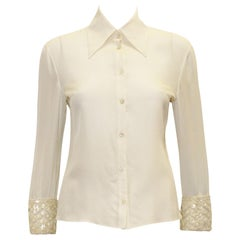 Valentino Ivory Silk Button Cuff Blouse Size 8 US