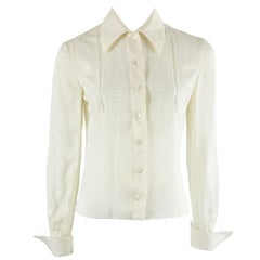Valentino Ivory Silk Long Sleeve Top w/ Eyelet Detail-4