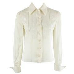 Valentino Ivory Silk Long Sleeve Top w/ Eyelet Detail-4
