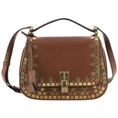 Valentino Joy Lock Saddle Bag Mosaic Studded Leather