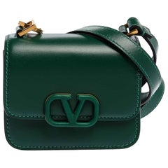 Valentino Jungle Green Leather Micro VSLING Shoulder Bag