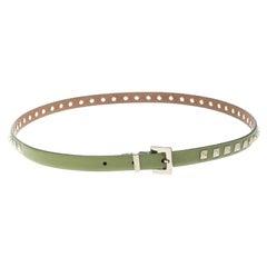 Valentino Kelly Green Leather Rockstud Skinny Belt 90cm