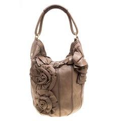 Valentino Khaki Brown Leather Bucket Hobo