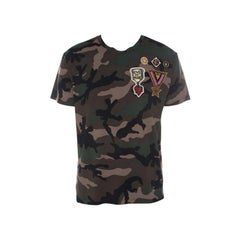Valentino Khaki Green Camouflage Print Cotton Military Applique Detail T-Shirt L