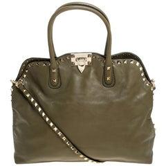 Valentino Khaki Green Leather Rockstud Satchel