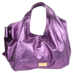 Valentino Large Metallic Purple Nuage Bow Tote