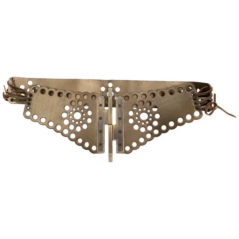 Valentino Leather Gold Lasercut Lace-Up Belt	 For Sale