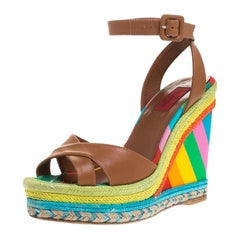 Valentino Leather Multicolor Espadrille Wedge Ankle Strap Sandals Size 37.5