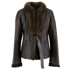Valentino Leather, Sable & Astrakhan Fur Reversible Jacket US 6