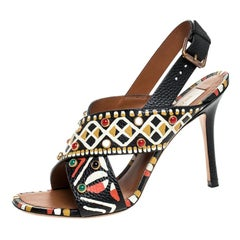 Valentino Leather Studded Crossover Primitive Ankle Strap Sandals Size 37.5
