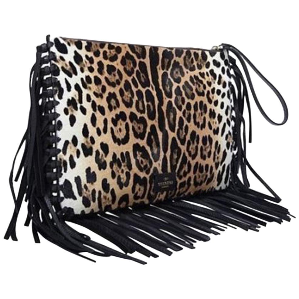 Valentino Leopard-Print Calf-Hair Fringe Clutch Bag