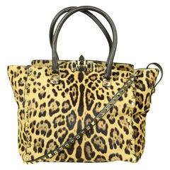 Valentino Leopard Print Calf Hair Small Rockstud Tote Bag w/ Crossbody Strap