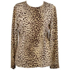 Valentino Leopard Print Silk Fabric Blouse Size 6