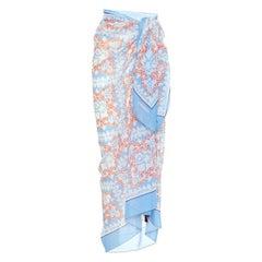 VALENTINO light blue cotton & silk ESCAPE BEACH WRAP Scarf Pareo Bandana Print