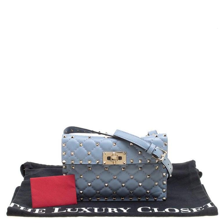 Valentino Light Blue Leather Rockstud Spike Crossbody Bag For Sale 5