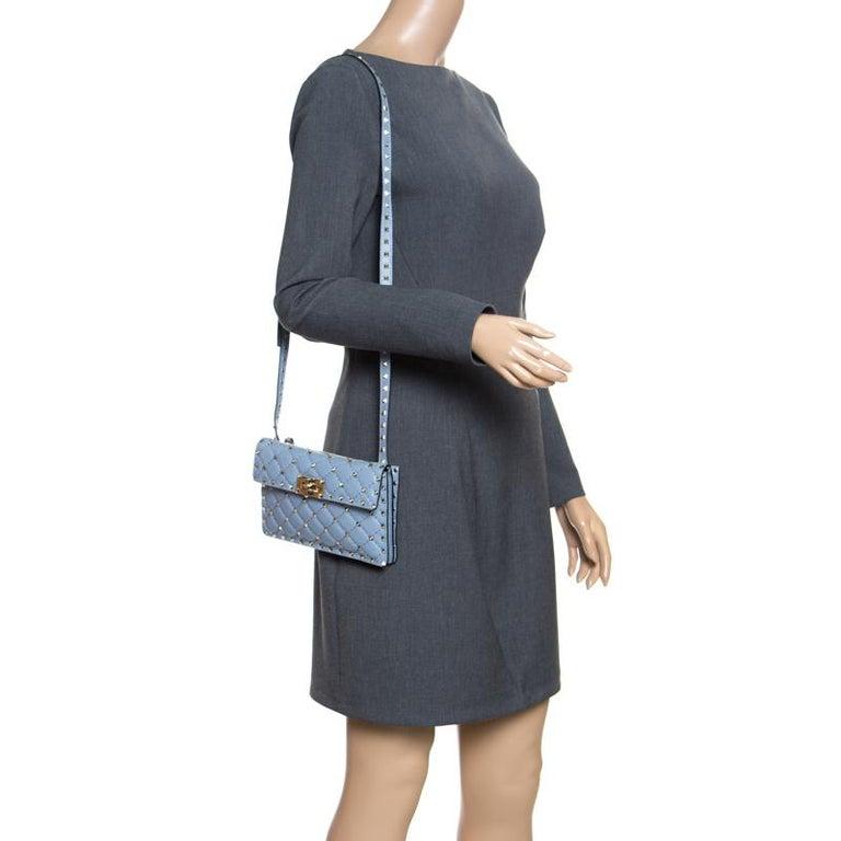 Gray Valentino Light Blue Leather Rockstud Spike Crossbody Bag For Sale