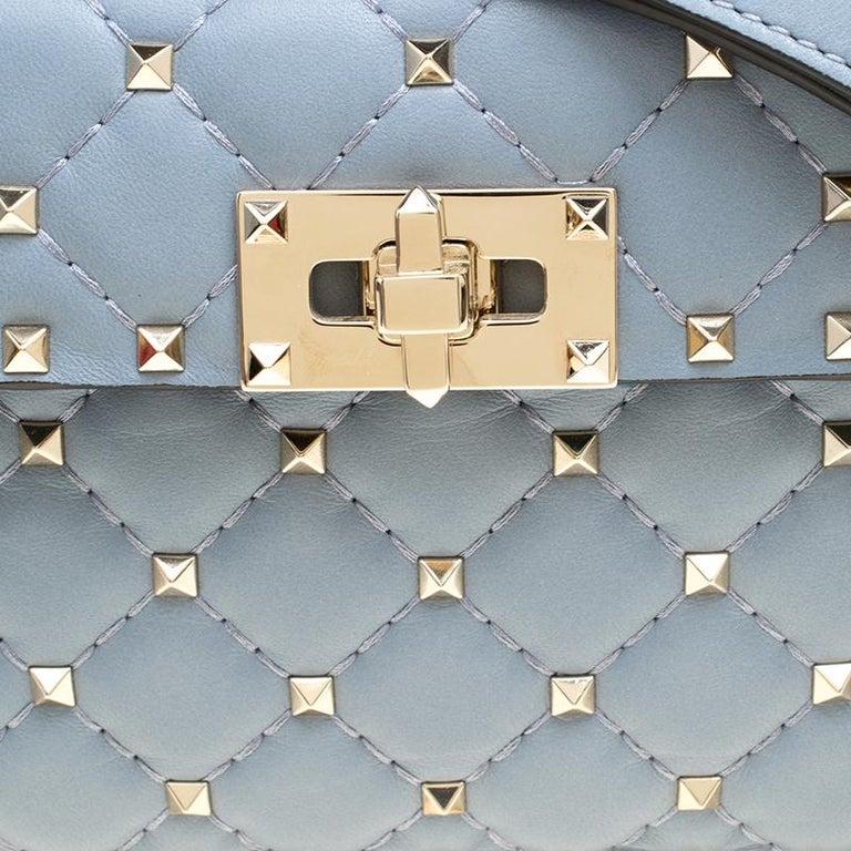 Women's Valentino Light Blue Leather Rockstud Spike Crossbody Bag For Sale