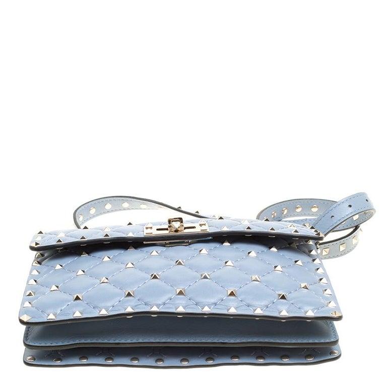 Valentino Light Blue Leather Rockstud Spike Crossbody Bag For Sale 1