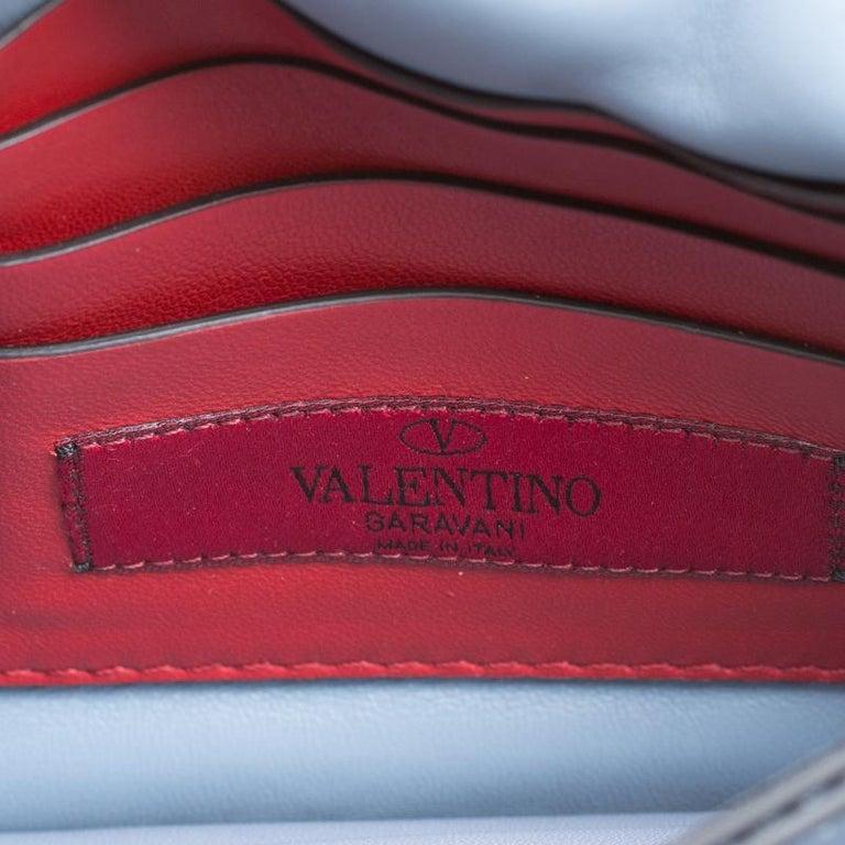 Valentino Light Blue Leather Rockstud Spike Crossbody Bag For Sale 2