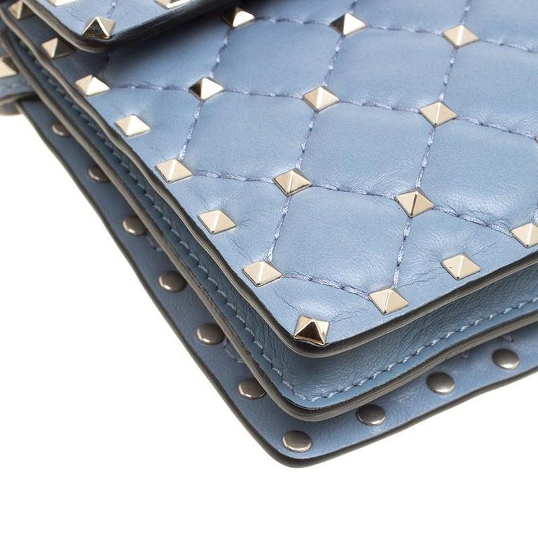 Valentino Light Blue Leather Rockstud Spike Crossbody Bag For Sale 3