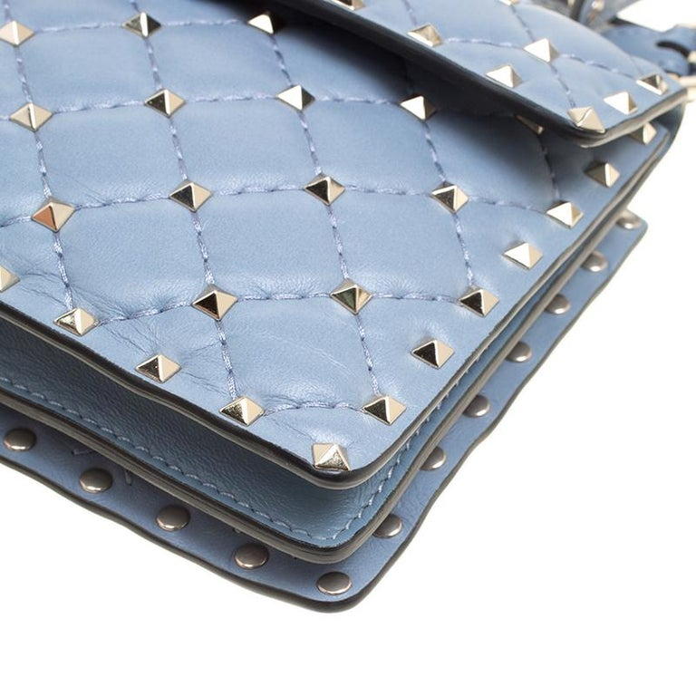 Valentino Light Blue Leather Rockstud Spike Crossbody Bag For Sale 4