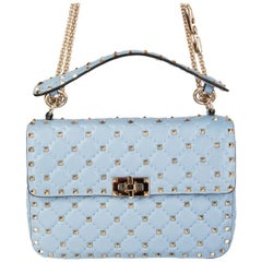 VALENTINO light blue quilted leather ROCKSTUD SPIKE MEDIUM Shoulder Bag