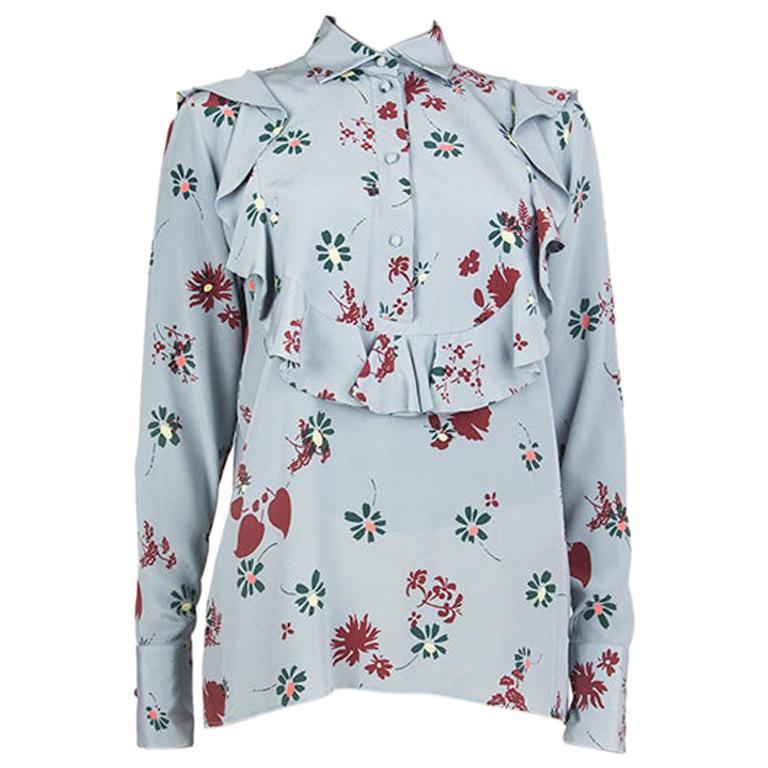 VALENTINO light blue silk RUFFLED FLORAL Blouse Shirt 40 S